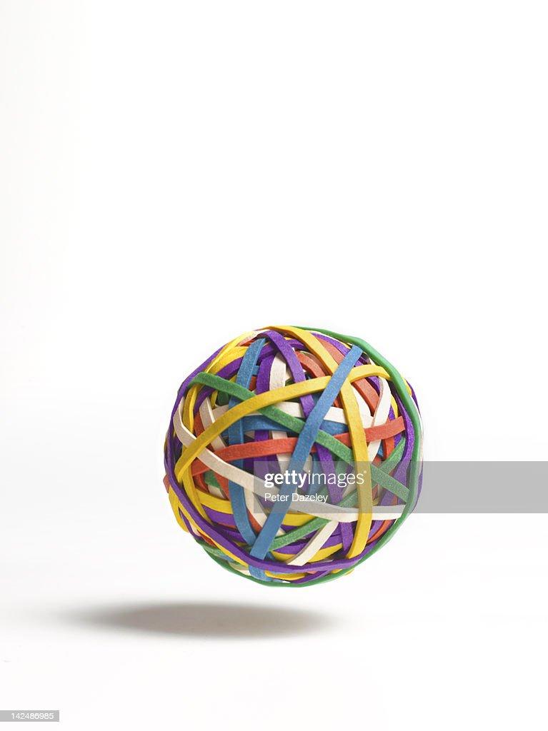 Bouncing ball of elastic bands : Stock Photo