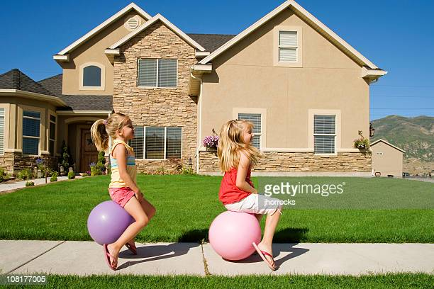 bouncing down the street - bouncing ball stock photos and pictures