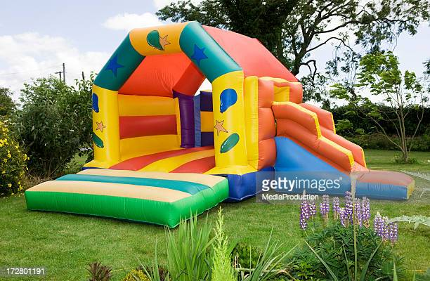 bouncy castle - castle stock pictures, royalty-free photos & images