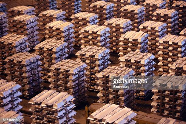 Bound aluminum ingots sit in a warehouse ahead of shipping at the foundry in the Krasnoyarsk aluminum smelter operated by United Co Rusal in...