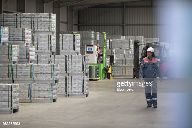 Bound aluminum ingots sit stacked ahead of shipping inside the Trimet Aluminium SE plant in Essen Germany on Friday May 4 2018 European Union leaders...
