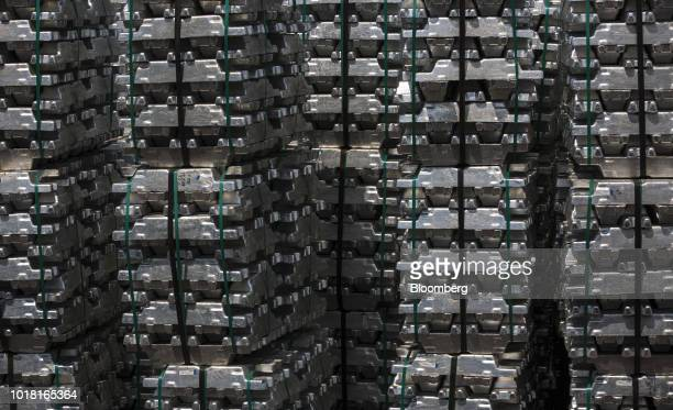 Bound aluminum ingots sit stacked in a storage area ahead of distribution at the Impol Seval AD Sevojno plant in Sevojno Serbia on Thursday Aug 16...
