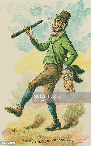 Bound for Donnybrooke Fair 1892 Depiction of a leprechaunlike Irish man carrying a shillelagh