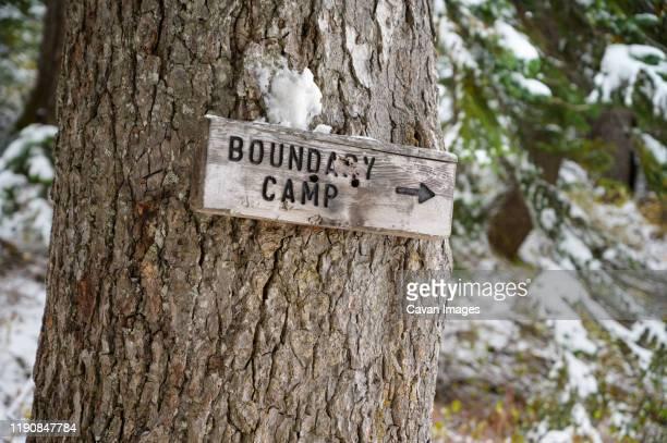 boundary camp sign on tree on hiking trail - トレイル表示 ストックフォトと画像