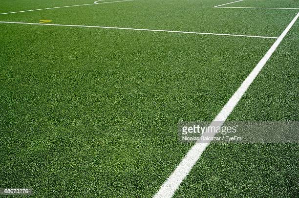 boundary markings on sports field - turf stock pictures, royalty-free photos & images