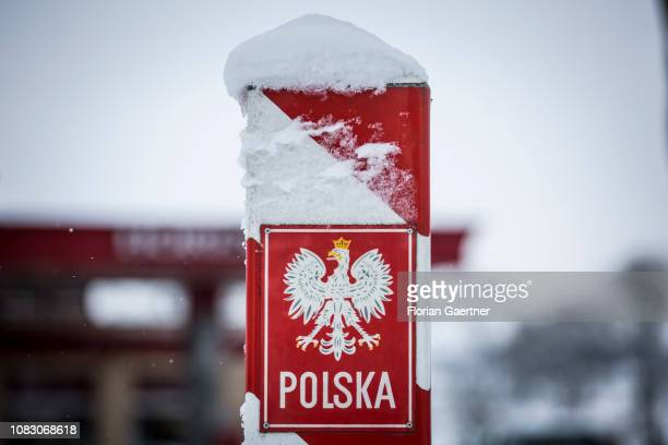 A boundary post with the inscription 'Polska' is pictured at the germanpolish border on January 11 2019 in Sieniawka Poland