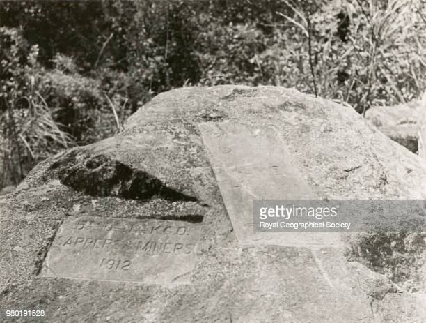 Boundary stone between Assam and Tibet Lohit Valley India 1933