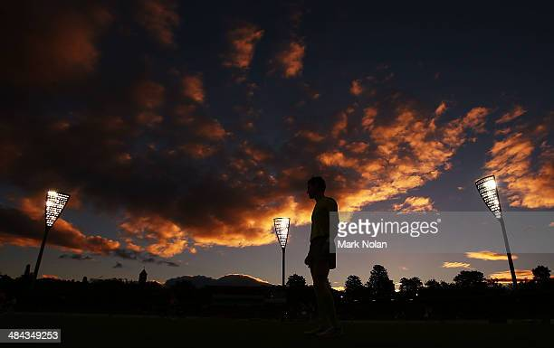A boundary umpire watches on as the sunsets during the round four AFL match between the Greater Western Sydney Giants and the Western Bulldogs at...