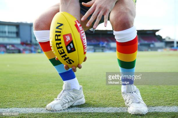 A boundary umpire wearing Pride Game socks throws the ball in while warming up during the round four AFLW match between the Western Bulldogs and the...