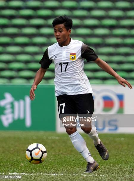 Bounphachan Bounkong of Laos in action during the AFC U23 Championship qualifier between China and Laos at Shah Alam Stadium on March 22 2019 in Shah...