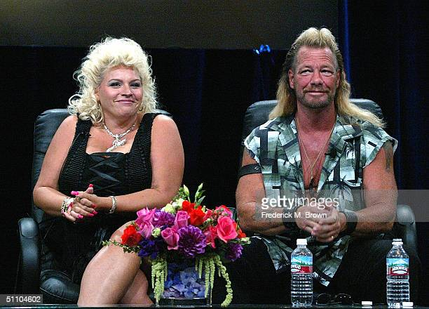 """Bounty Hunter Dog Chapman and his wife Beth Chapman of """"Dog The Bounty Hunter"""" speaks with the press at the TCA Press Tour Cable at the Century Plaza..."""