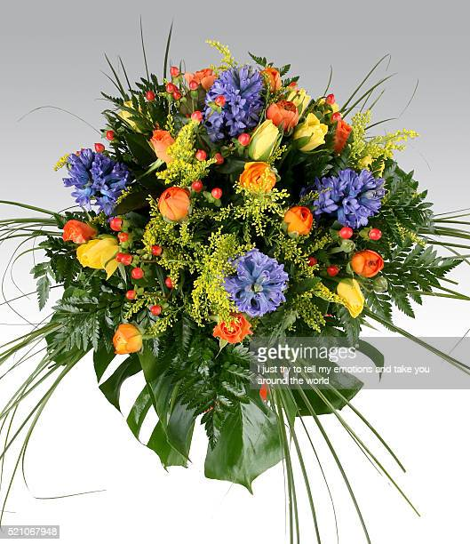 Bouquet composition of flowers multicolor white isolated