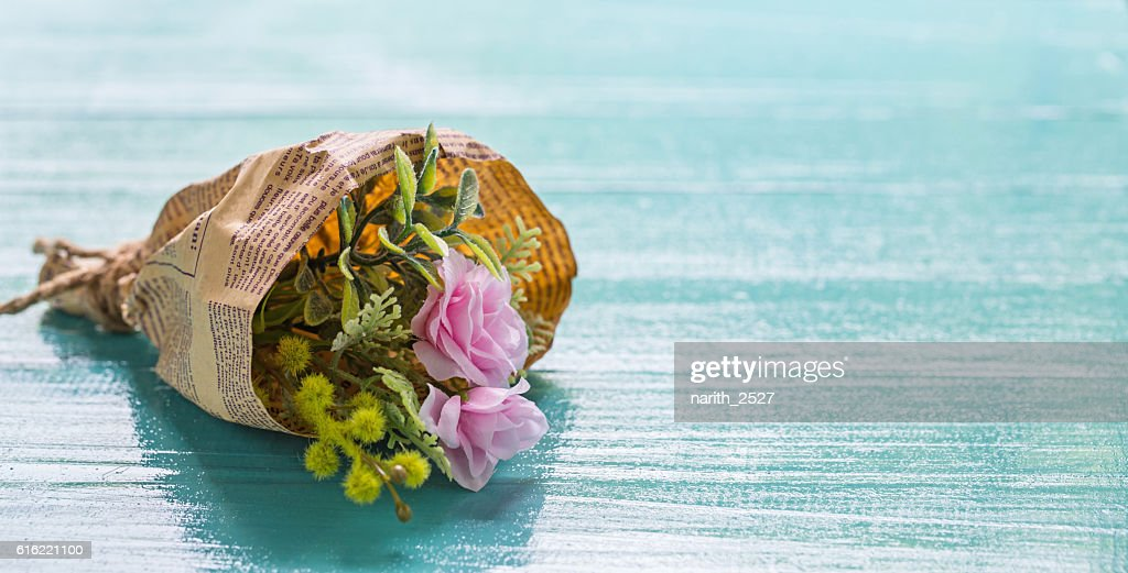 Bouquet of beautiful fresh flower artificial with paper : Stock Photo