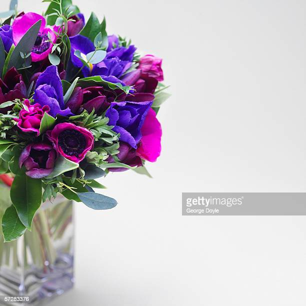 Bouquet of blue and violet flowers in a vase