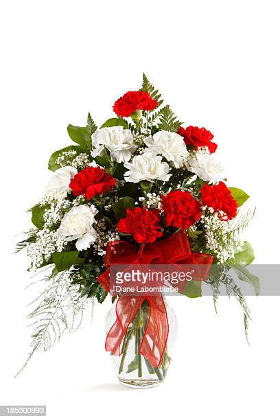 bouquet of carnations on white background - carnation flower stock pictures, royalty-free photos & images