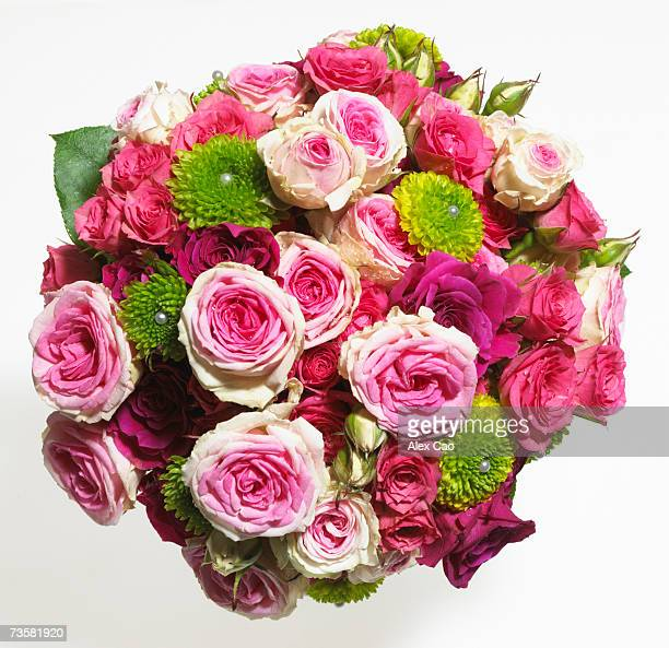 Bouquet of carnations, overhead view