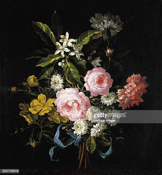 Bouquet of Chamomile Roses Orange Blossom and Carnations Tied with a Blue Ribbon Found in the collection of ThyssenBornemisza Collections