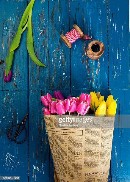 Bouquet of colorful tulips in rustic style