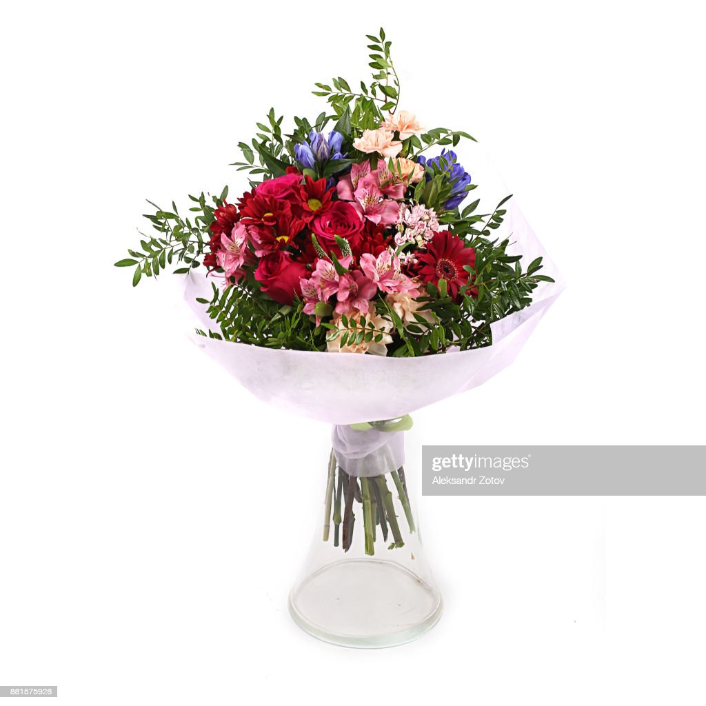 Bouquet Of Different Green Red Yellow Blue And Purple Flowers On White High Res Stock Photo Getty Images