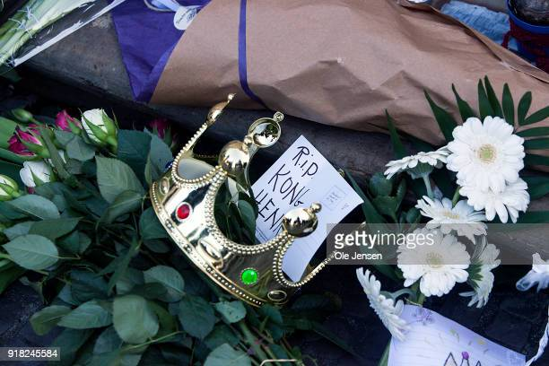Bouquet of flower at Amalienborg Palace with a crown and a message which reminds about the deceased Prince Henriks year long frustration of not being...