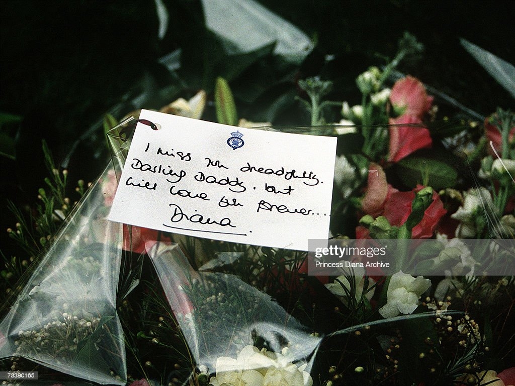 Earl spencers funeral pictures getty images a bouquet of flowers and message card laid by the princess of wales at the funeral izmirmasajfo Images