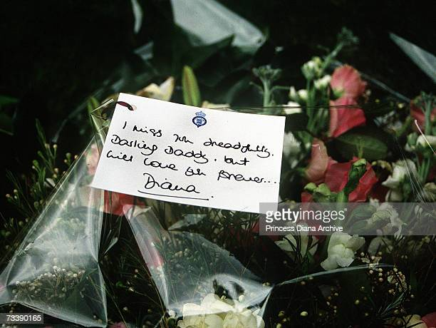 Bouquet of flowers and message card laid by the Princess of Wales at the funeral of her father, the 8th Earl Spencer at Great Brington, Northampton,...
