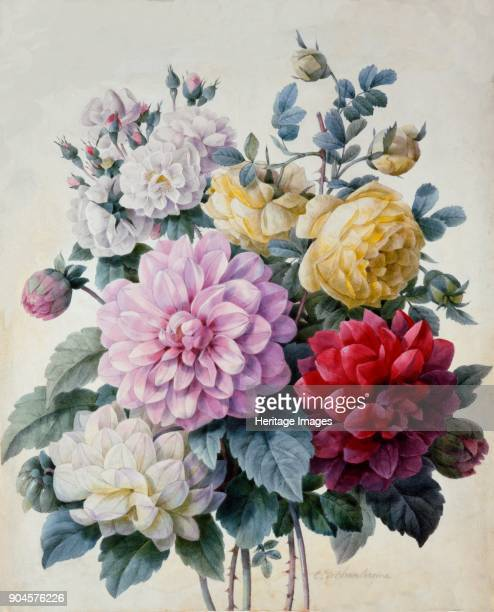 Bouquet of Flowers Dahlias and Roses published c18301840