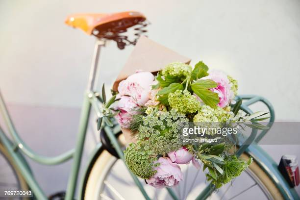 Bouquet of flowers on bicycle