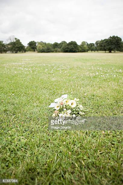 Bouquet of flowers on grass
