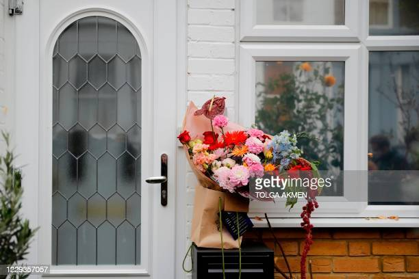 Bouquet of flowers, placed by a well-wisher outside the front door of the home of former leader of Britain's main opposition Labour Party Jeremy...