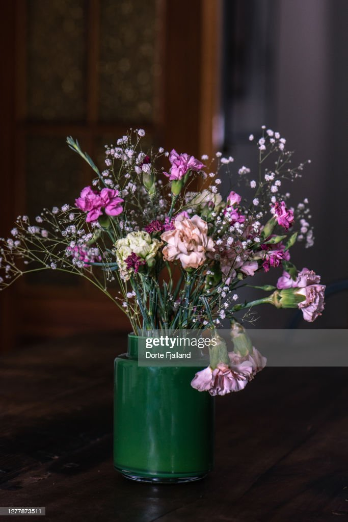 A bouquet of gypsophilias and pink carnations against a dark background : Foto de stock