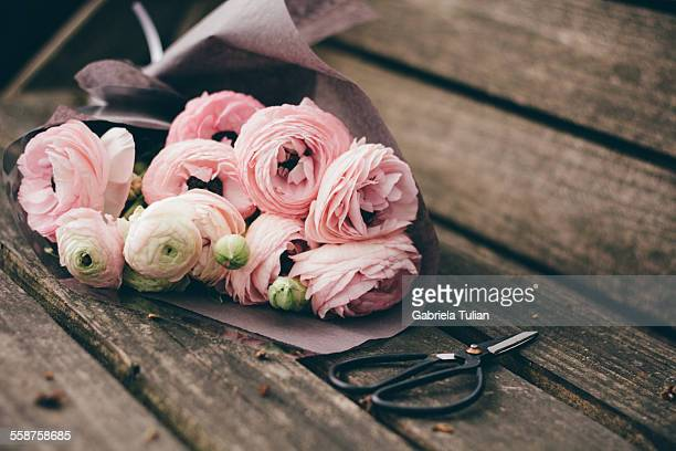 Bouquet of ranunculus pink flowers