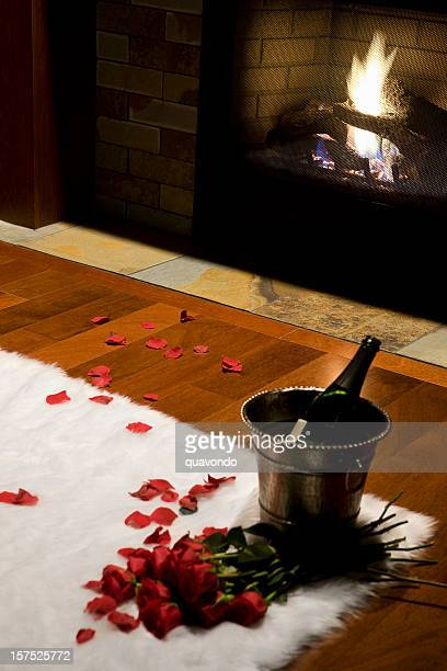 Bouquet of Romantic Valentine Roses and Champagne by Fireplace, Copyspace