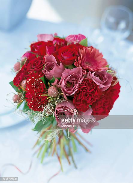 Bouquet of rose,gerbera,scabiosa and carnation.