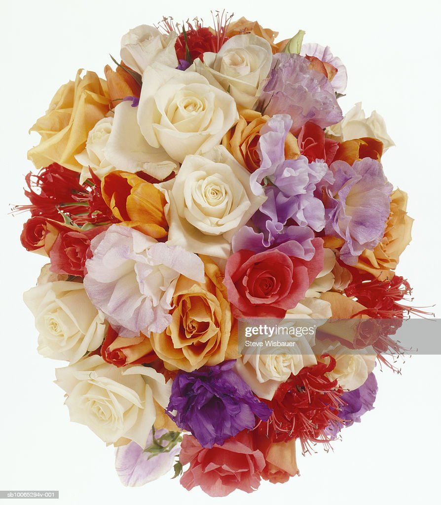 Bouquet of roses, overhead view, studio shot, close-up : Foto stock