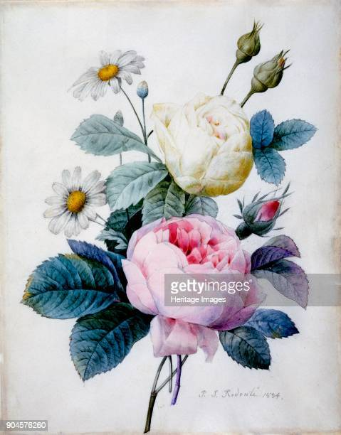 Bouquet of Roses with Daisies pub 1834