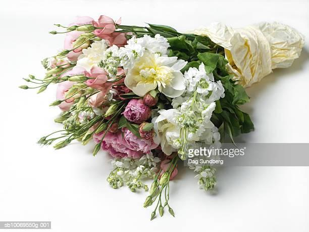 bouquet on white background, close-up - bouquet foto e immagini stock