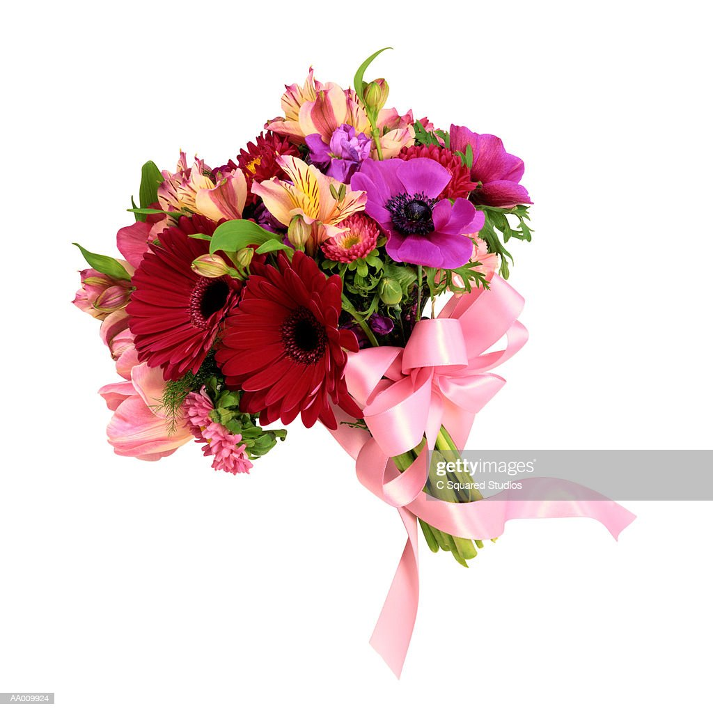 Bouquet Tied with a Pink Ribbon : Stock Photo