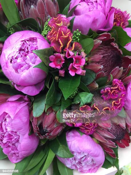 Bouquet with peonies, protea and Celsius