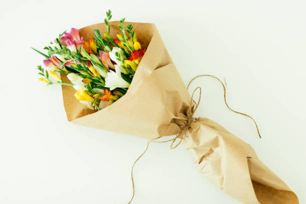 Bouquet wrapped in paper