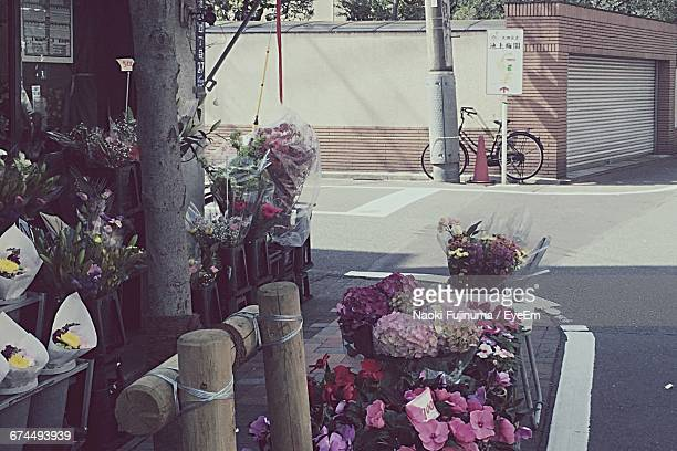 Bouquets Arranged At Flower Shop By Street