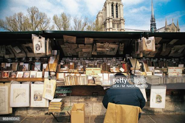 Bouquiniste stall for sellers of used and antiquarian books on the banks of the River Seine Paris France