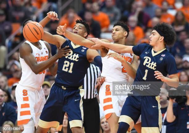 Bourama Sidibe of the Syracuse Orange, Terrell Brown of the Pittsburgh Panthers, Matthew Moyer of the Syracuse Orange and Parker Stewart of the...