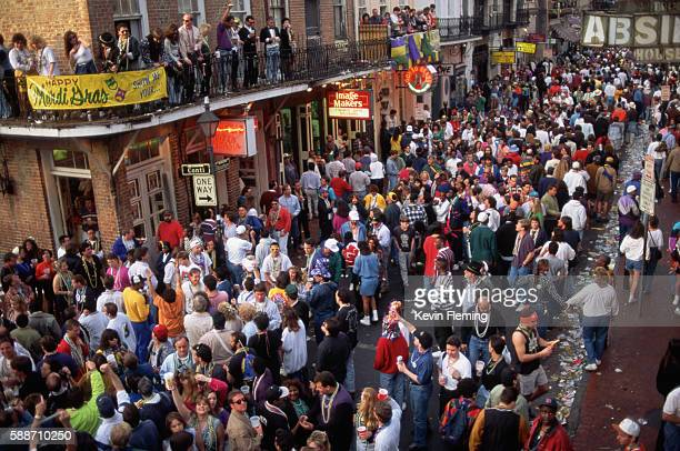 bourbon street during mardi gras - gras stock pictures, royalty-free photos & images