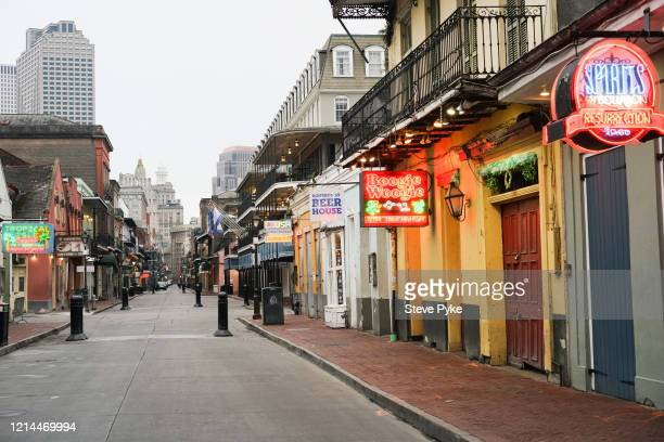 Bourbon Street in the French Quarter of New Orleans is deserted amid restrictions in place to help deal with the Covid19 pandemic 22nd March 2020
