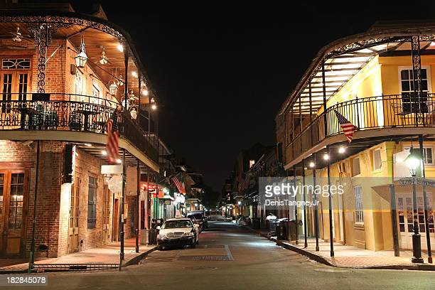 bourbon street new orleans - new orleans french quarter stock photos and pictures