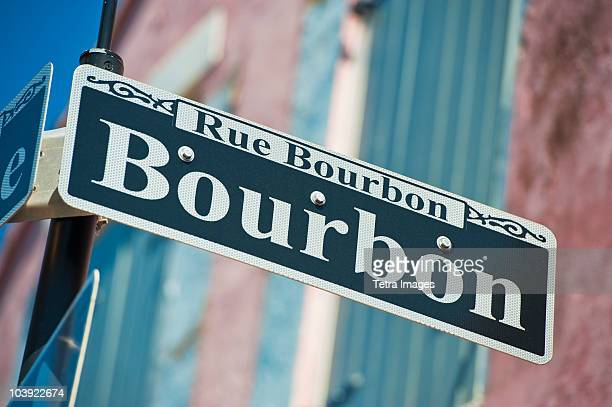 bourbon street sign - new orleans french quarter stock photos and pictures
