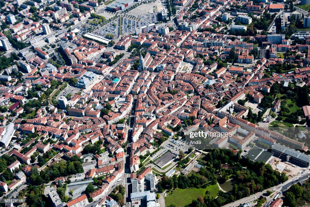Bourg-en-Bresse, aerial view over the city. : News Photo