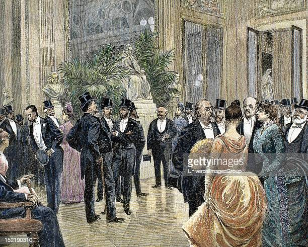 Bourgeois families in the foyer of the Theatre Francais, Colored engraving from 1885.