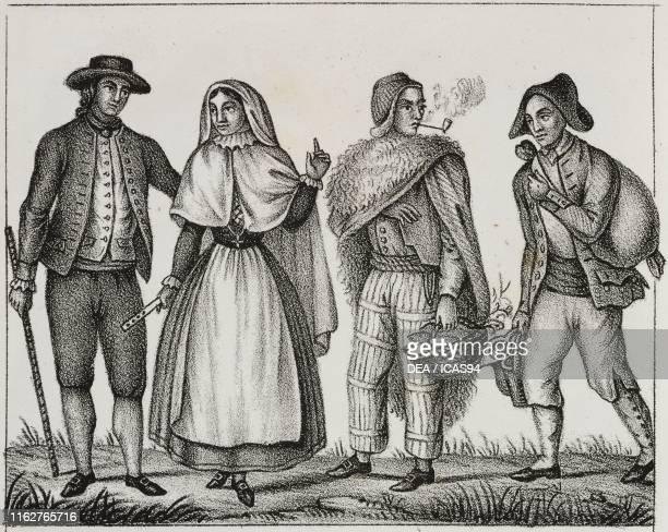 Bourgeois man and woman of Menorca Majorca boatman and oil seller Balearic Islands Spain lithograph from Galleria universale di tutti i popoli del...